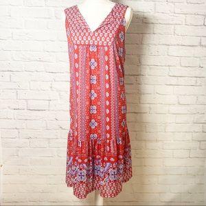NWT Womens Style & Co red print flounce hem dress